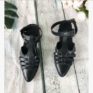 ASOS 8 strappy sandals pointed toe black reptile